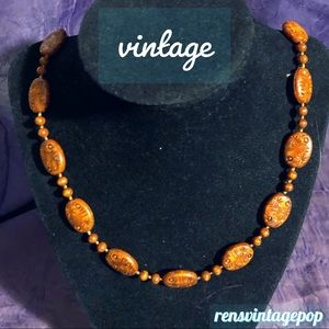 Vntg Coral & Sienna Colored Carved Bead Necklace